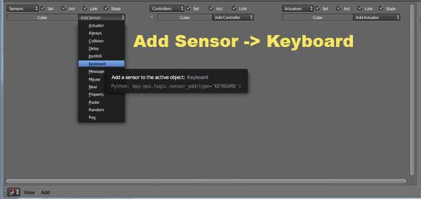 Add Sensor -> Keyboard