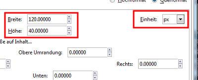 Dokumenteneinstellungen 120x40 in Pixel (px)