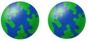 Links skaliertes SVG - rechts skaliertes JPG