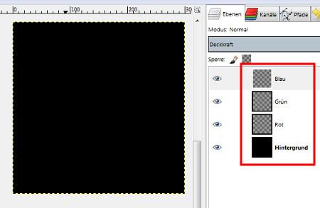 Schwarzer Hintergrund und 3 neue, leere Ebenen