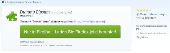 Einfach zu bedienendes Blindtext-PlugIn für Firefox Browser
