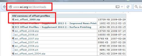 von den Old Versions wählt ihr eci_offset_2009.zip zum Download