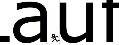 """Laufweite zwischen Buchstaben """"A"""" und """"U"""""""