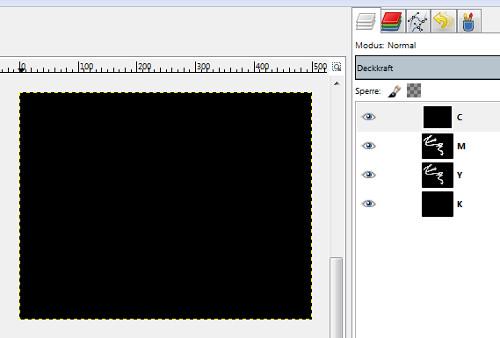 Nach Seperate neues Bild, bestehend nur aus CMYK-Ebenen