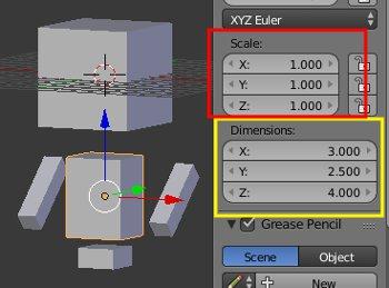 Scale auf 1 und die Dimensions haben ihre Größe. Gut!