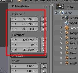 Scale und Rotation müssen auf Null