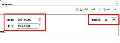 Maßeinheit und Dateigröße anpassen