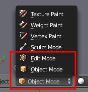 Wechsel von Object- in Edit-Mode