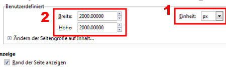 Erst Maßeinhait, dann Bildgröße in Pixel = RICHTIG!