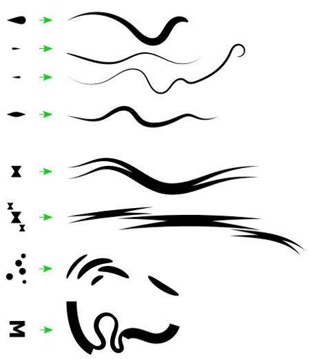 Verschiedene Experimente mit Brushes-Formen