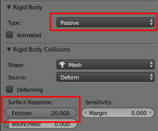Blender Rigid Body Settings