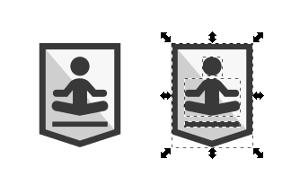 Links gruppiertes Icon, rechts aufgehoben