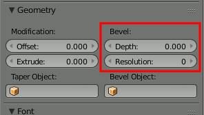 Blender Text Depth