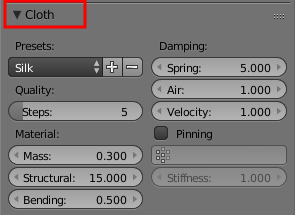 Blender Cloth Settings